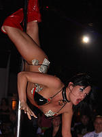 Tory Lane doing a stripping dance at a club