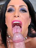 Jessica Jaymes on her knees sucking a big cock