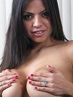 Yurizan Beltran takes off her sexy black lingerie