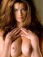 Playmate Carrie Stevens shows her big natural tits