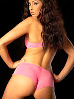 Evelyn Lory in pink lingerie teasing