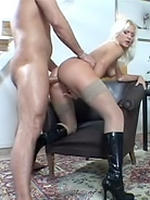Kathy Anderson blonde wearing boots is anal fucked
