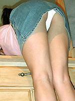 Jordan Capri shows white upskirt panties