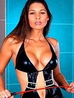 Zafira brunette toys shaved cunt in latex