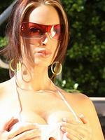 Nikki Nova sexy boobies in white bikini