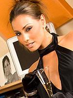 Anetta Keys wearing only her black high heels