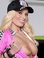 Angelina Ash blonde babe strips racing suit
