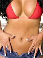 Mariah Milano in a sexy red bikini top by the pool
