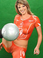 Caroline Cage in body painted soccer