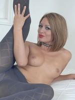 Renee Richards in grey pantyhose