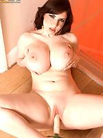 Gorgeous Karina Hart spreads on wooden floor