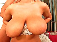 Big boobed blonde banged