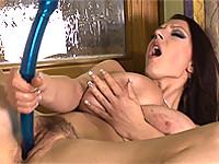 Merilyn fucks giant toy with pinching nipples