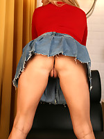 Rachel Aziani in Red Shirt, Jeans Skirt