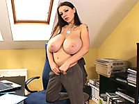 Merilyn gets wet in her office with her toys