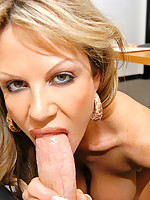 Kelly Madison takes a big cock in her mouth in a POV scene